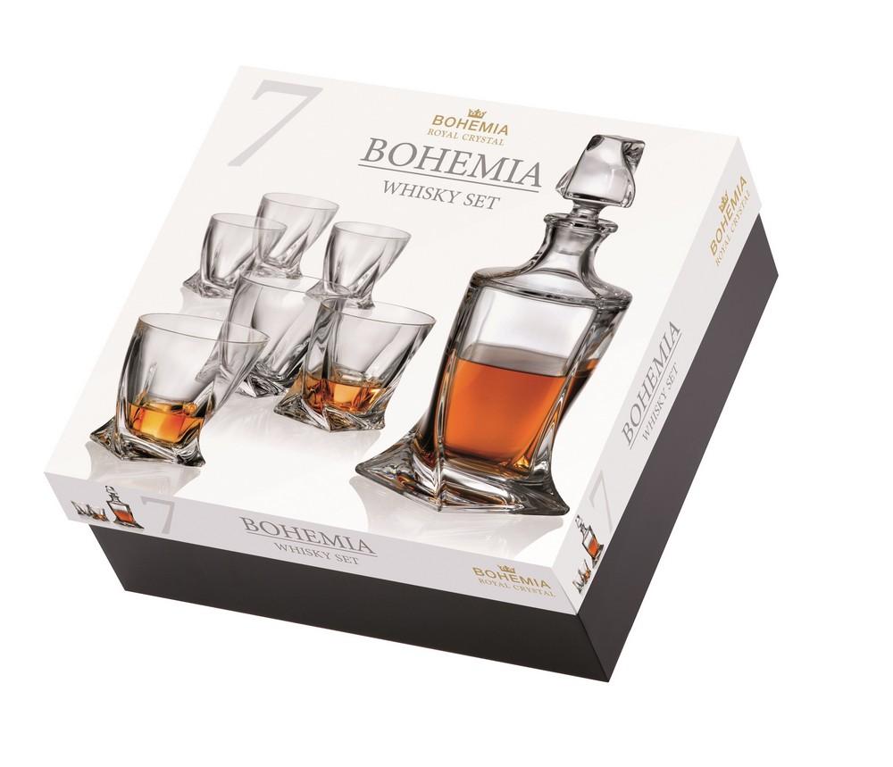 Комплект за уиски Bohemia Quadro, 7 части