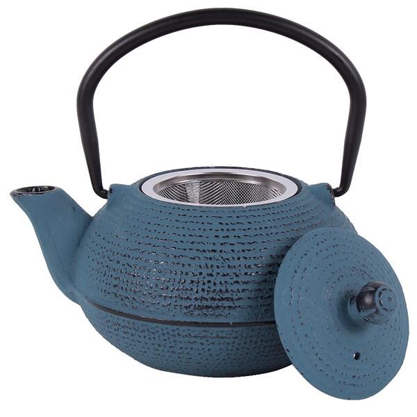 Чугунен чайник с цедка LF, 500 ml, син