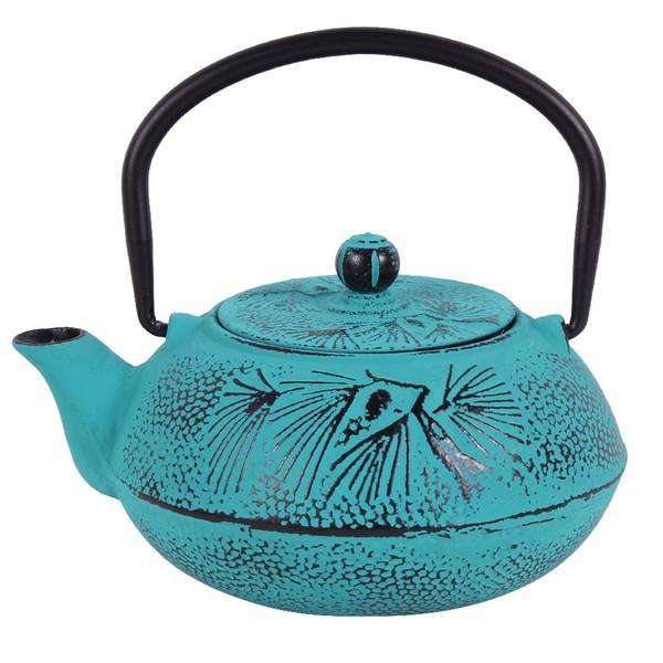Чугунен чайник с цедка LF, 600 ml, син