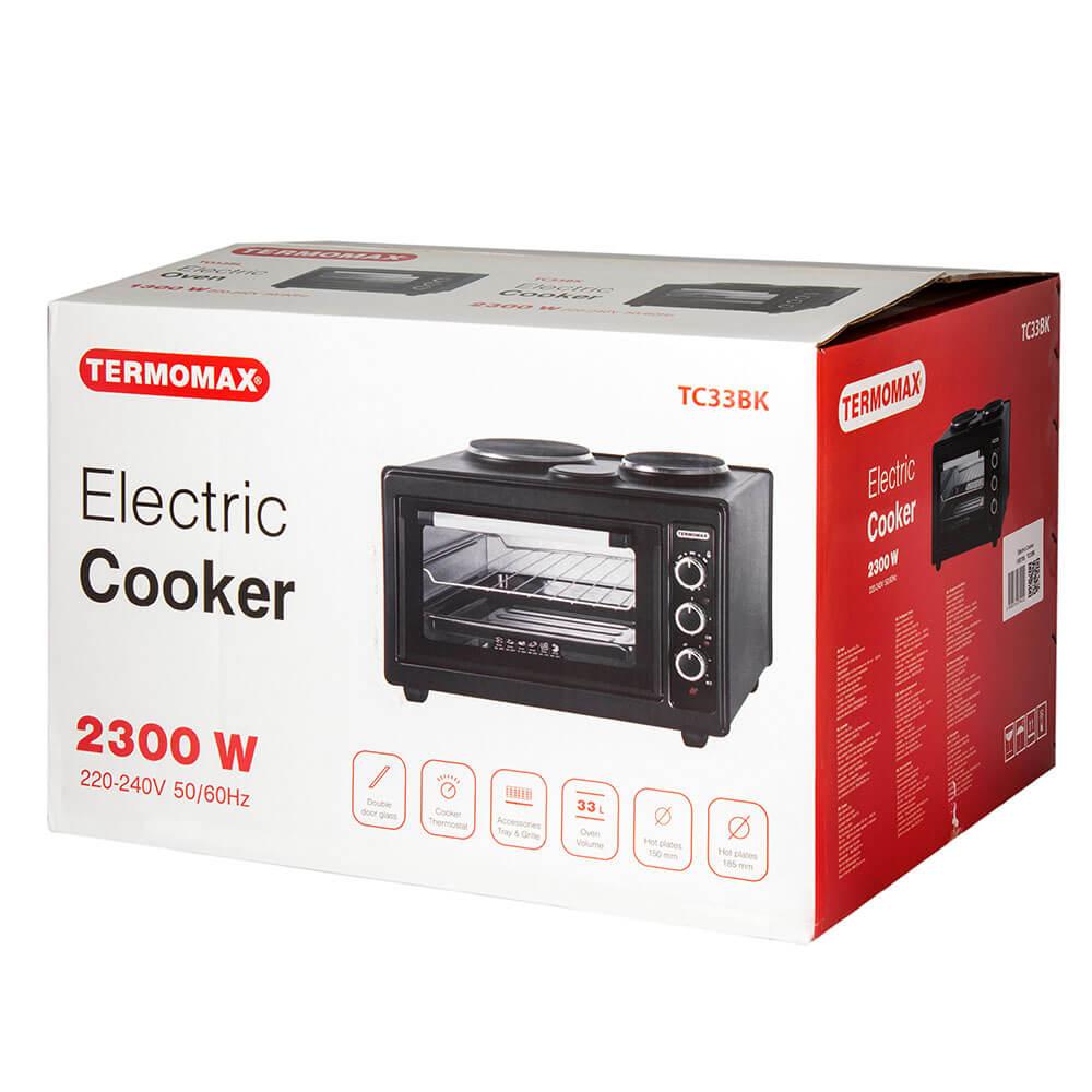 Готварска печка Termomax TC33BK, 2 котлона, мини, черен