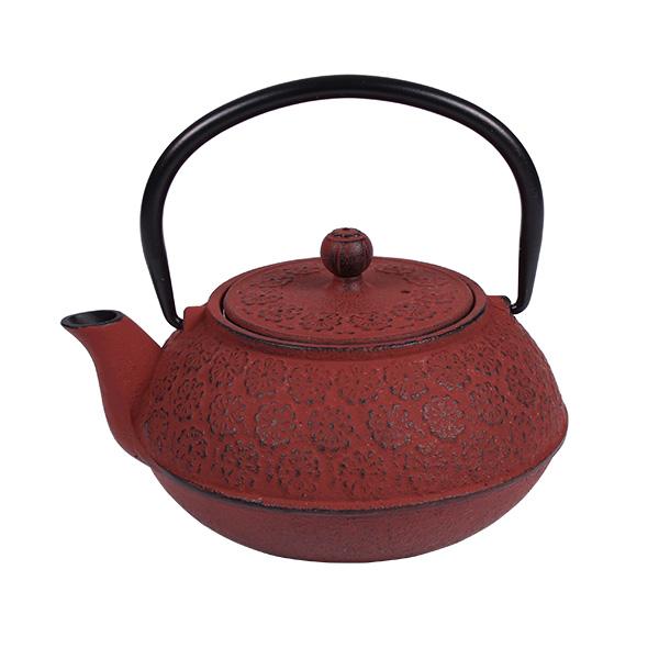 Чугунен чайник с цедка, 600 ml, червен